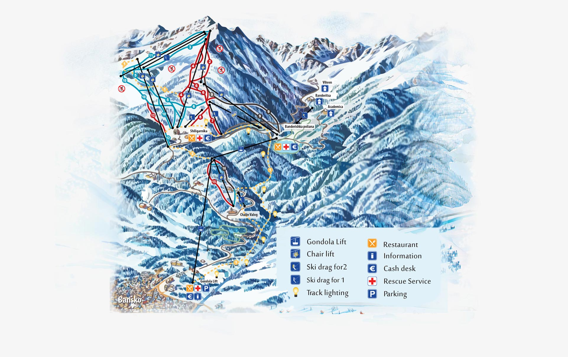 карта ски зона Банско